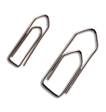 MAPED Boîte de 100 trombones en acier nickelé et bout chevron, 32 mm