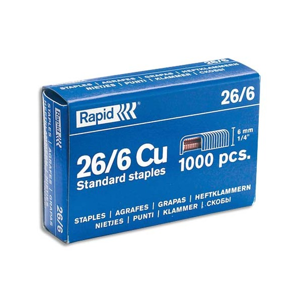 RAPID Boîte de 1000 agrafes Nº26/6 galvanisées