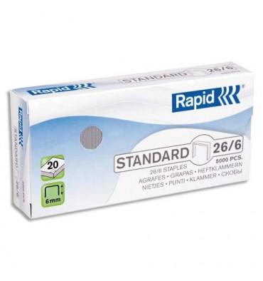 RAPID Boîte de 5000 agrafes Nº26/6 galvanisées Strong pour agrafeuse avec technologie FlatClinch