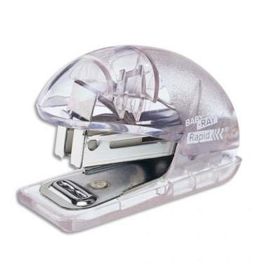 RAPID Mini agrafeuse Baby Ray glacier transparent, capacité 10 feuilles, agrafes 24/6 26/6