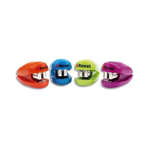 REXEL Mini agrafeuse Buddy + 1 boîte de 1000 agrafes 26/6 sous blister. Coloris assortis