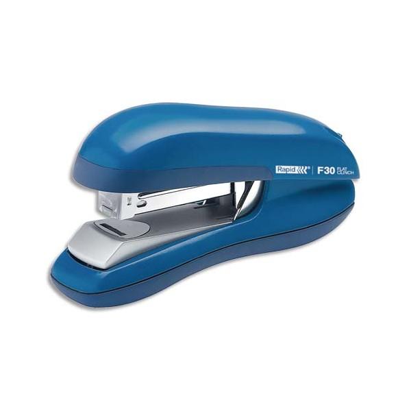 RAPID Agrafeuse F30 Flat Clinch bleue, capacité 30 feuilles, agrafes 24/6-26/6