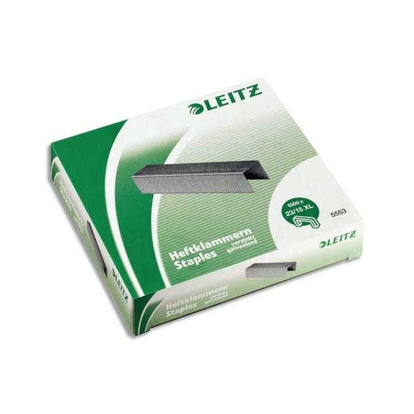 LEITZ Boîte de 1000 agrafes 23/15XL pour agrafeuse 120 feuilles Flatclinch 5553
