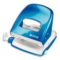 LEITZ Perforateur 2 trous WOW coloris bleu azur métalisé, capacité 30 feuilles