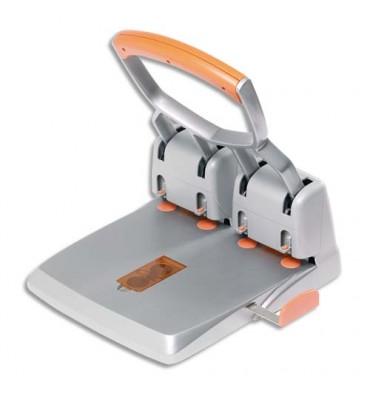 RAPID Perforateur 4 trous Duax HDC 150/4. Capacité 150 feuilles. Coloris orange/gris