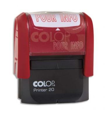 COLOP Timbre à encrage automatique POUR INFO, empreinte rouge 38 x 14 mm