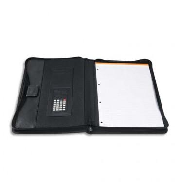 EXACOMPTA Porte-documents conférencier Exawallet noir recyclé avec bloc ligné et calculatrice solaire