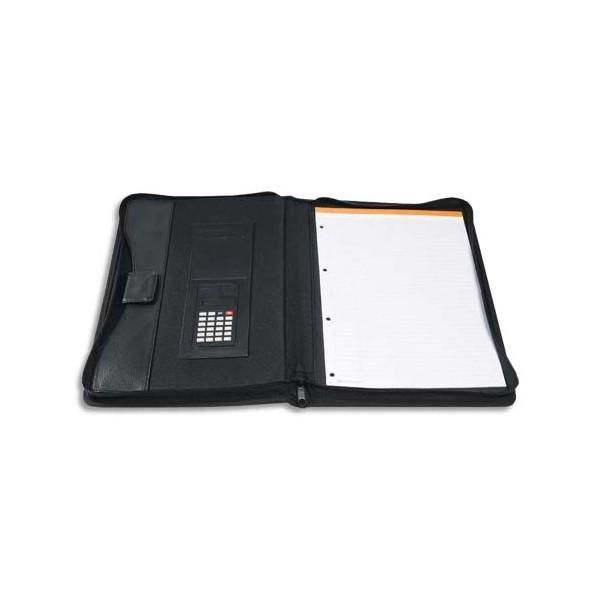 EXACOMPTA Porte-documents conférencier Exawallet noir recyclé avec bloc ligné et calculatricesolaire