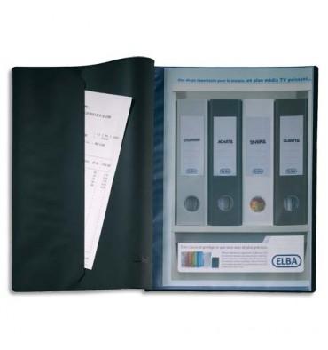 ELBA Protège-documents 20 vues noir Le Lutin, couverture PVC 34/100e, pochettes en PVC 5,5/100e