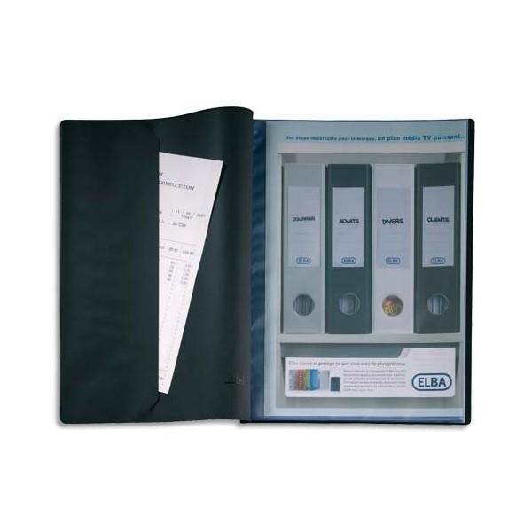 OXFORD Protège-documents Le Lutin avec poche de rangement, 20 vues, 10 pochettes, coloris noir