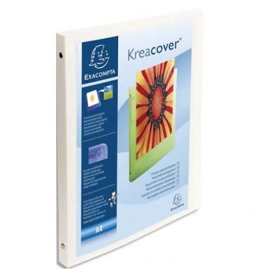 EXACOMPTA Classeur personnalisable KREACOVER en polypropylène, dos 2 cm, pour A4 coloris blanc