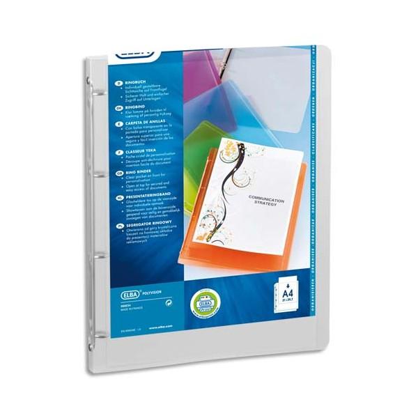 ELBA Classeur personnalisable POLYVISION, format A4, Polypropylène 5/10e dos 2 cm, colori