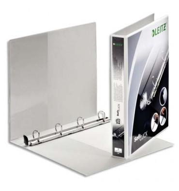 LEITZ Classeur 4 anneaux personnalisable Soft Clic diamètre 20 mm dos 4,2 cm coloris blanc