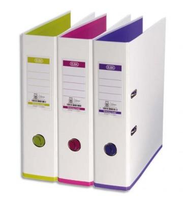 ELBA Classeurs à levier My Colour recouvert de polypropylène dos 8 cm coloris blanc assortis