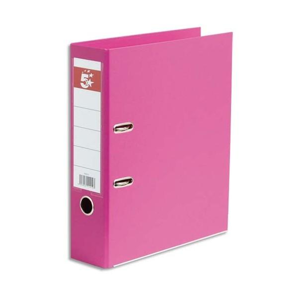 5 ETOILES Classeur à levier dos de 8 cm plastifié intérieur et extérieur rose