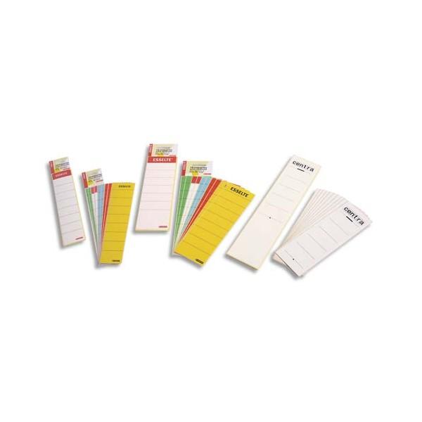ESSELTE Sachet de 10 étiquettes adhésives pour classeur à levier à dos étroit coloris
