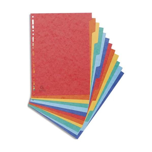 EXACOMPTA Jeu d'intercalaires 12 positions format 24 x 32 cm pour pochettes perforées. Carte lustrée 3/10e