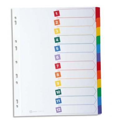 AVERY Intercalaires 12 touches. En carte blanche, onglets plastifiés de couleur. Format A4