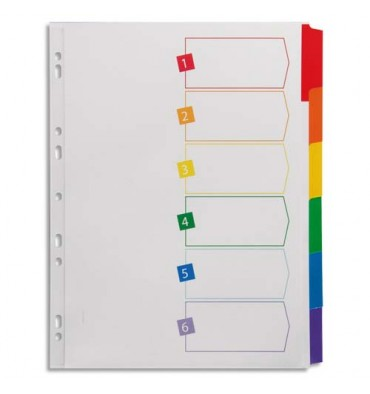 AVERY Intercalaires 6 touches. En carte blanche, onglets plastifiés de couleur. Maxi format.