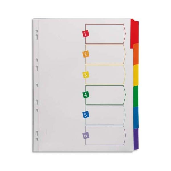 AVERY Intercalaires 6 touches. En carte blanche, onglets plastifiés de couleur. Maxi format. (photo)