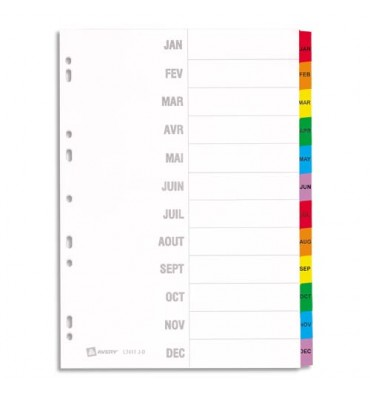 AVERY Répertoire mensuel 12 touches Mylar®. En carte blanche, onglets plastifiés de couleur. Maxi format