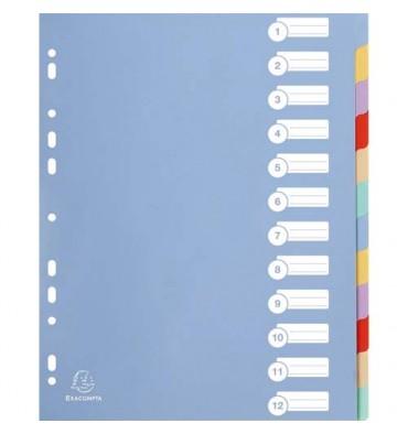 EXACOMPTA Jeu de 12 intercalaires polypropylène 3.5/10è format maxi A4+