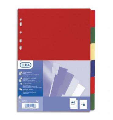 ELBA Jeu de 12 intercalaires polypropylène 3/10e format A4+ opaque coloré