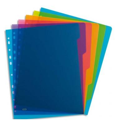 ELBA Intercalaire COLOR LIFE 6 touches polypropylène translucide A4 maxi, coloris assortis