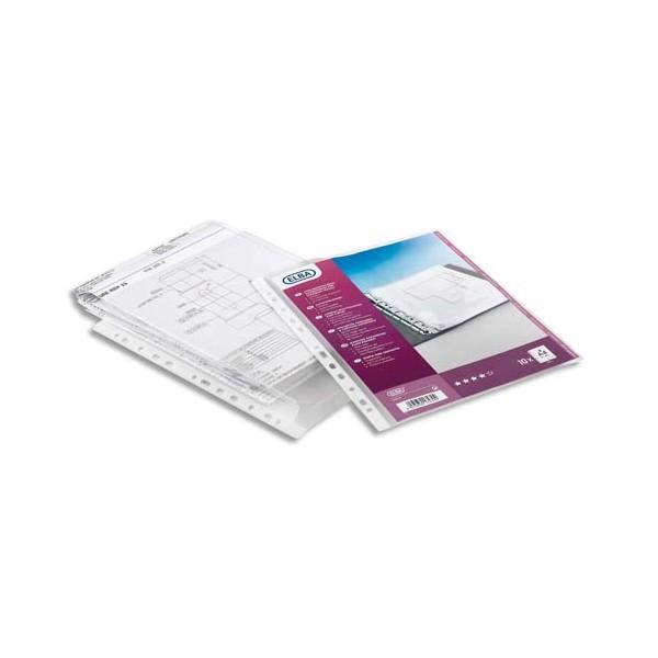 ELBA Sachet de 10 pochettes-plan en PVC 30/100e, perforation 9 trous