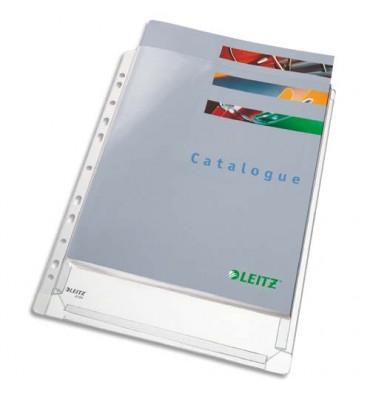 LEITZ Sachet de 10 pochettes à soufflets pour revues, en PVC 17/100e, perforation 11 trous