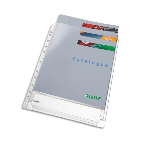 LEITZ Sachet de 5 pochettes à soufflet perforées en PVC grainé 170/100e, peut contenir