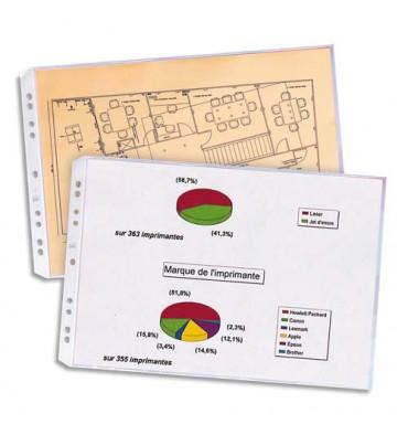 ELBA Sachet de 10 pochettes perforées en PVC 9/100e. Format A3 à l'italienne ou A3 plié (A4), 11 trous