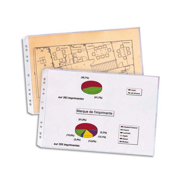 ELBA Sachet de 10 pochettes perforées format A3 à l'italienne, polypropylène 9/100e, 9 trous