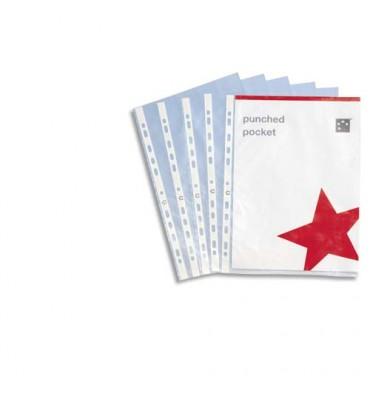 5 ETOILES Boîte de 100 pochettes perforées en polypropylène 9/100e lisse, perforation 11 trous