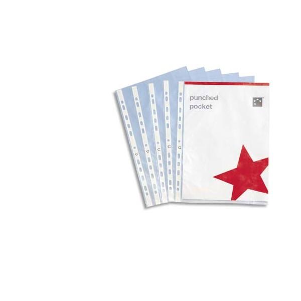 5 ETOILES Sachet de 50 pochettes perforées en polypropylène 9/100e lisse, perforation 11 trous