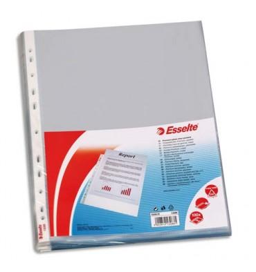 ESSELTE Sachet de 100 pochettes perforées A4 polypropylène lisse 8/100e incolore