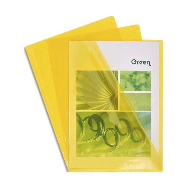 EXACOMPTA Boîte de 100 pochettes coin en PVC 13/100e, coloris jaune