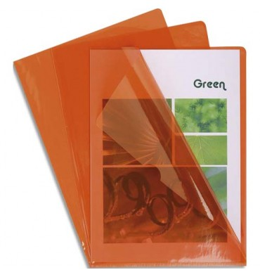 EXACOMPTA Boîte de 100 pochettes coin en PVC 13,5/100e. Coloris orange