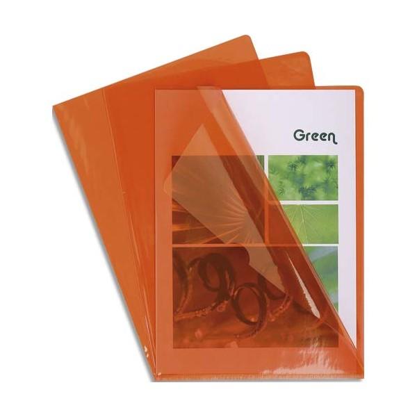 EXACOMPTA Boîte de 100 pochettes coin en PVC 13/100e, coloris orange