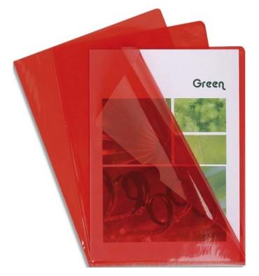 EXACOMPTA Boîte de 100 pochettes coin en PVC 13,5/100e. Coloris rouge