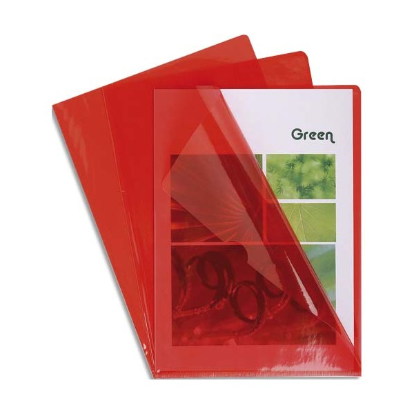 EXACOMPTA Boîte de 100 pochettes coin en PVC 13/100e, coloris rouge