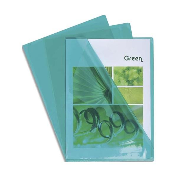 EXACOMPTA Boîte de 100 pochettes coin en PVC 13/100e, coloris vert