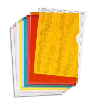 EXACOMPTA Boîte de 100 pochettes coin en PVC 13,5/100e. Coloris assortis