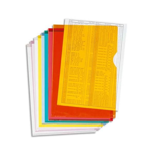 EXACOMPTA Boîte de 100 pochettes coin en PVC 13/100e, coloris assortis