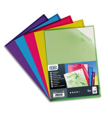 ELBA Sachet de 10 pochettes-coins PVC 15/100e assortis acidulés