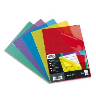 ELBA Boîte de 100 pochettes-coins en PVC 15/100e assortis