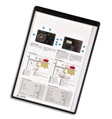 TARIFOLD Boîte de 5 pochettes murales magnétiques A4 en PVC, bord métallique gainé de couleur noire