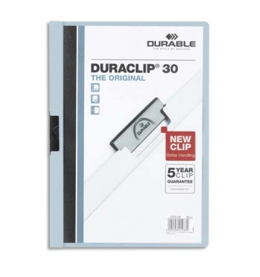 DURABLE Chemise de présentation à clip Duraclip. Capacité 1 à 30 feuilles A4, coloris bleu clair