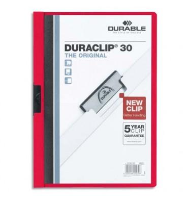 DURABLE Chemise de présentation à clip DURACLIP. Capacité 30 feuilles. Coloris rouge