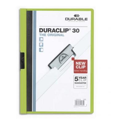 DURABLE Chemise de présentation à clip DURACLIP. Capacité 30 feuilles. Coloris vert